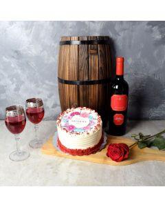 Mother's Day Red Velvet & Wine Gift Basket