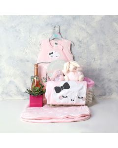 A LITTLE LOVE BABY GIRL GIFT BASKET WITH CHAMPAGNE, baby girl gift hamper, newborns, new parents
