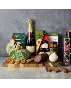 Holiday Champagne Cheese Ball Gift Basket