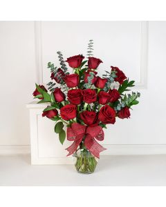 Red Rose Bouquet with Vase, floral gift baskets, Valentine's Day gifts, gift baskets, romance