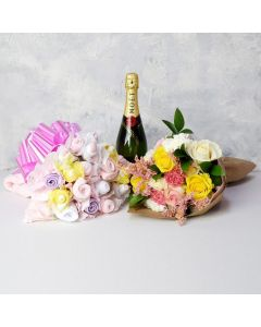 BABY GIRL BOUQUET GIFT SET WITH CHAMPAGNE, baby girl gift hamper, newborns, new parents