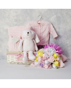 ELEGANT BABY & FLORAL GIFT SET FOR HER, baby girl gift hamper, newborns, new parents