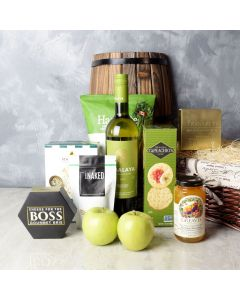 Apple, Cheese, & Wine Gift Basket, wine gift baskets, gourmet gifts, gifts