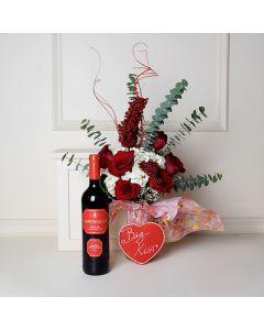 Rose and Hydrangea Vase, wine gift baskets, floral gift baskets, Valentine's Day gifts, gift baskets, romance