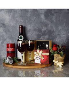 Holiday Wine & Chocolate Gift Basket