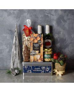 Happy Holidays Beer & Snacks Gift Basket