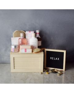 Cherry Blossom Spa Gift Crate, spa gift baskets, spa gifts, gift baskets, spa sets