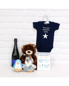 Champagne Basket for a Baby Boy